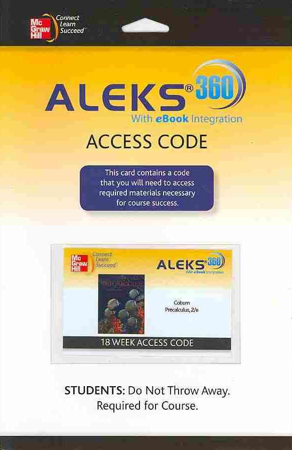 Precalculus Aleks 360 (18 Weeks) Access Card By Aleks Corporation (COR)/ Coburn, John